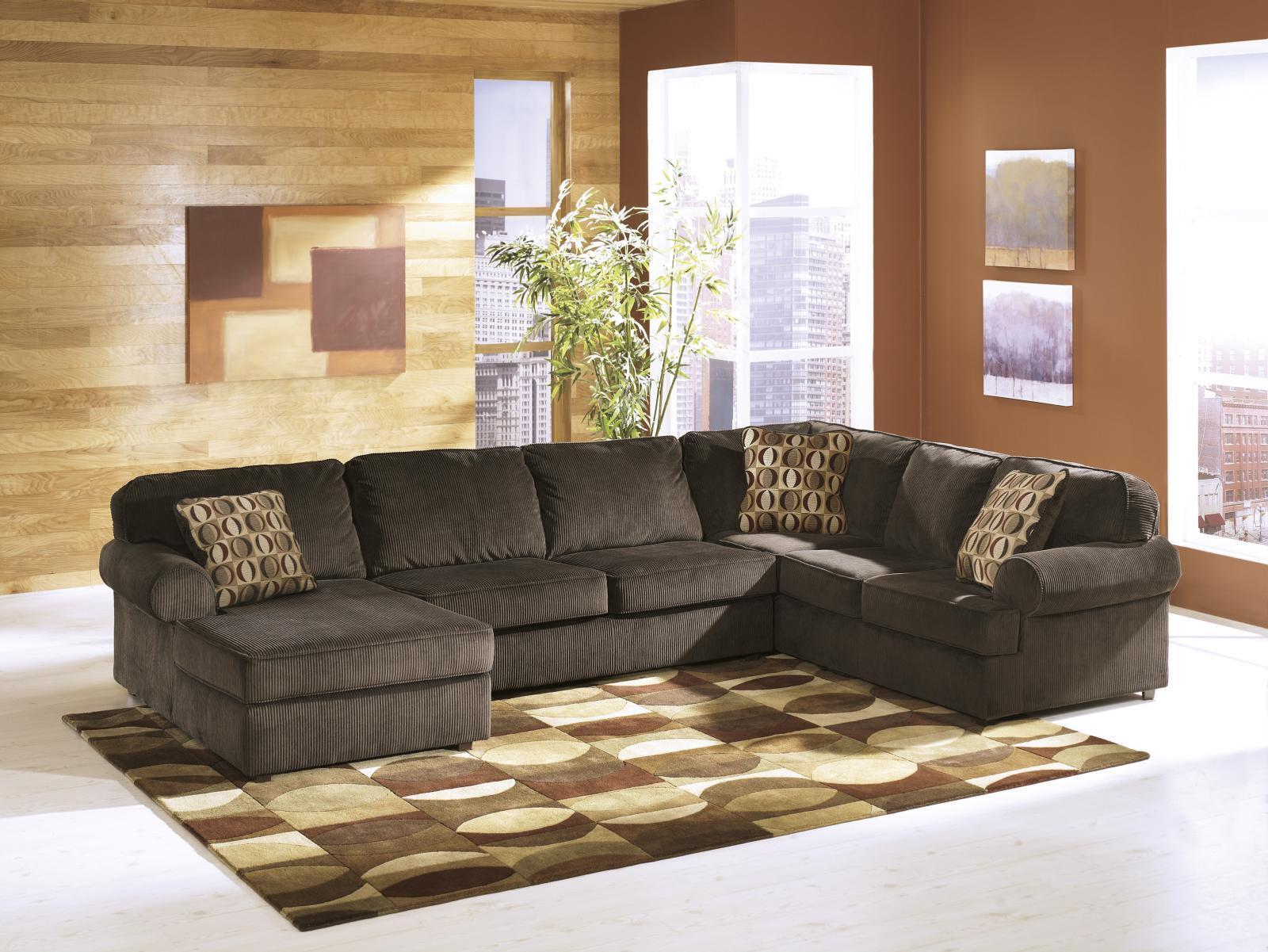 Ashley Vista Living Room Sectional 3pcs in Chocolate Left Facing Contemporary