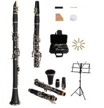 New Bb Black Clarinet with Case and Extra 10 Reeds, Music Stand - $99.99