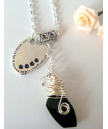 Wire Wrapped Black Swarovski Crystal Pendant Necklace with charm - $14.99
