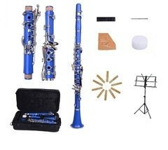 New Bb Blue Clarinet with Case and Extra 10 Reeds, Music Stand - $99.99