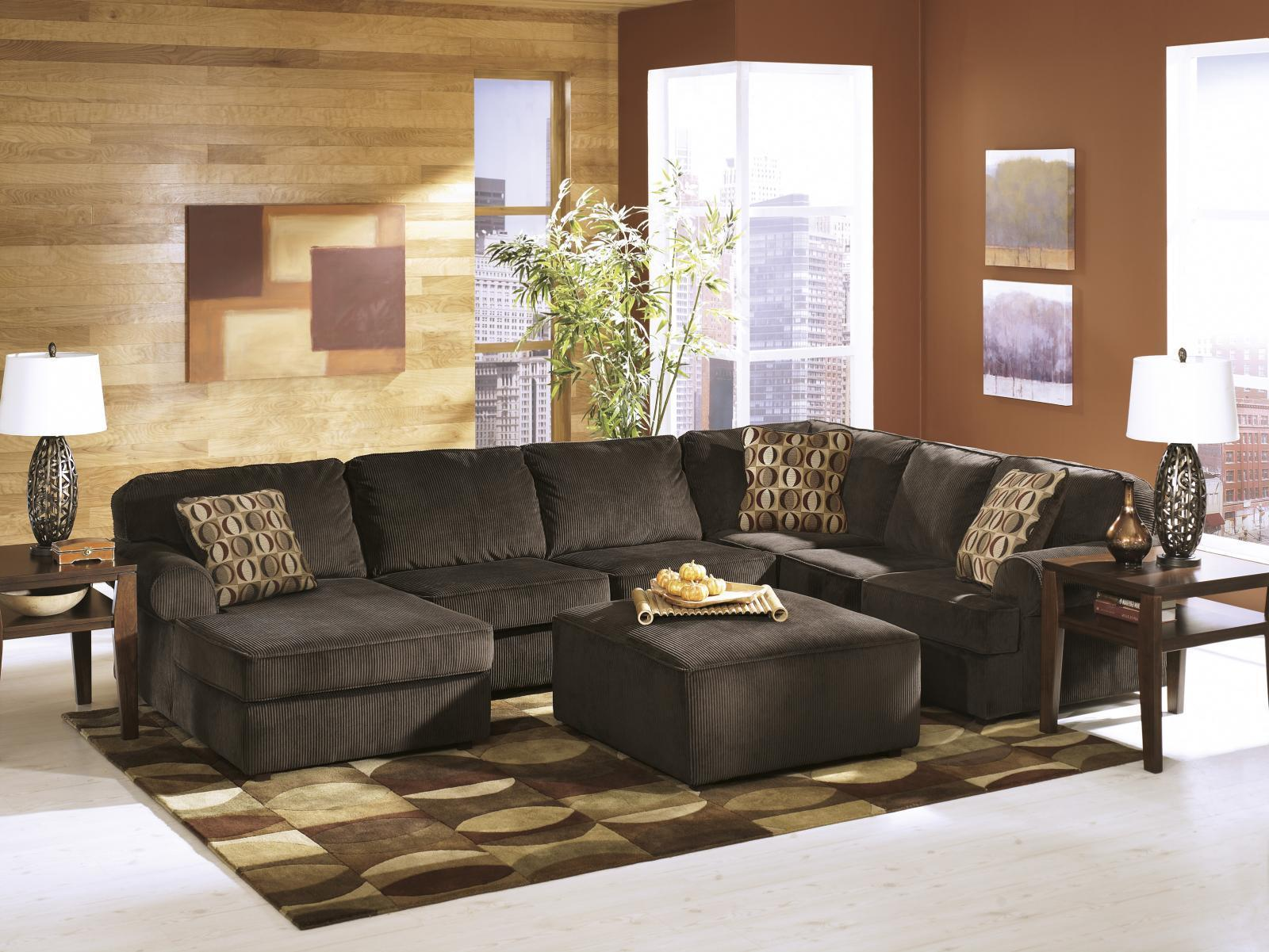 Ashley Vista Living Room Sectional 4pcs in Chocolate Right Facing Contemporary