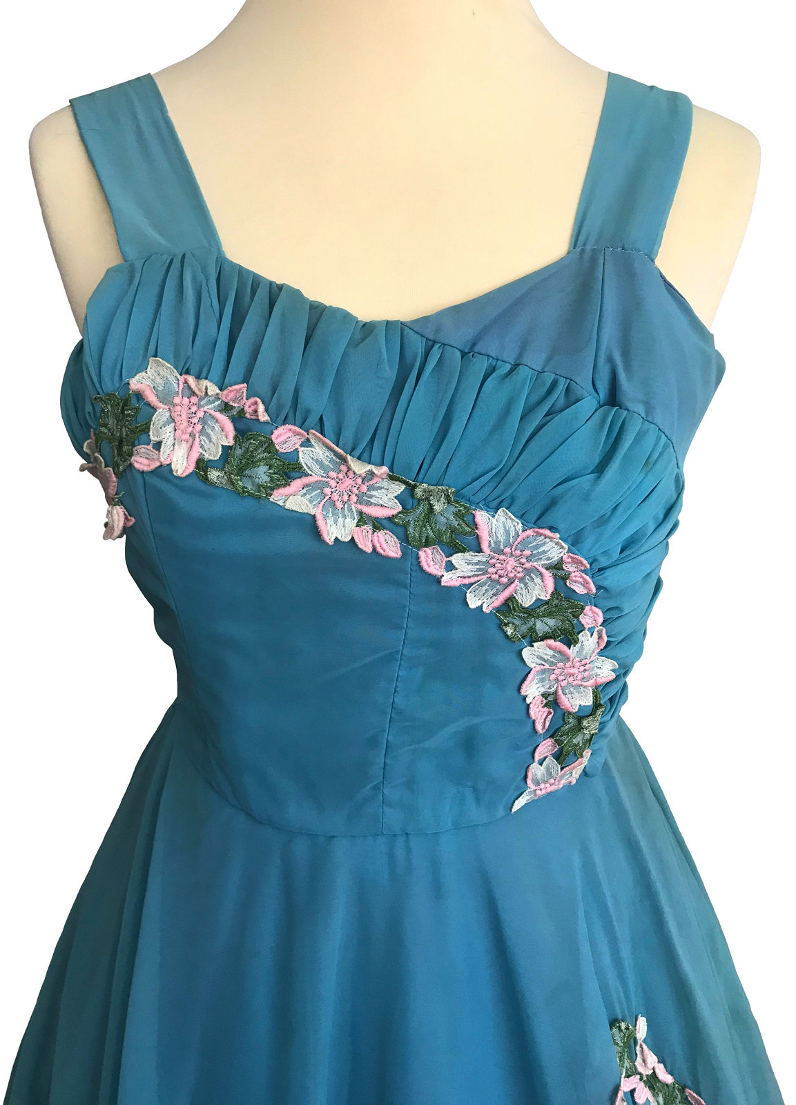 50s Vtg Sapphire Blue Pink Green White Rose Lace Trim Ruched Bodice Swing Dress