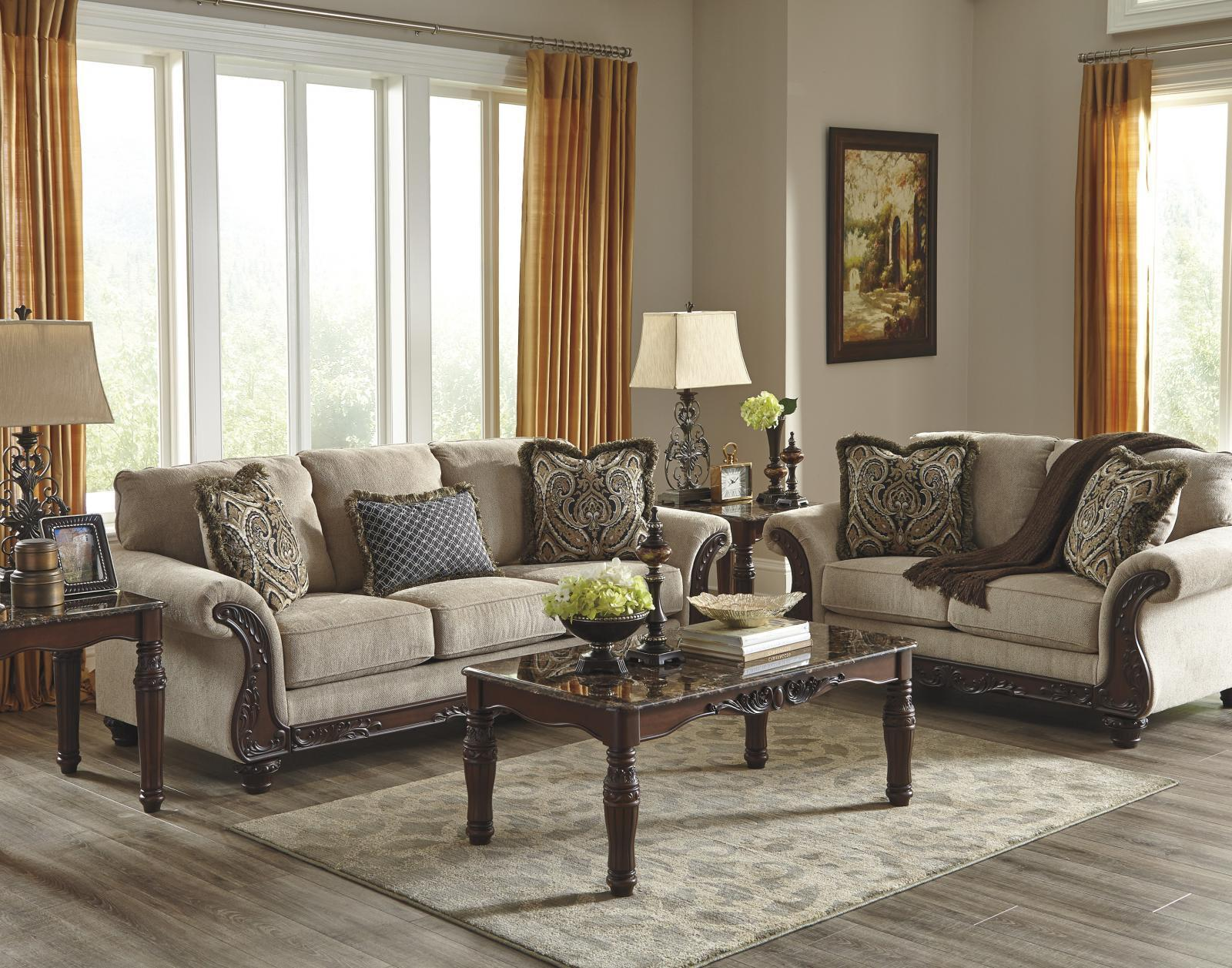 Ashley Laytonsville Living Room Set 2pcs in Pebble Upholstery Fabric Traditional