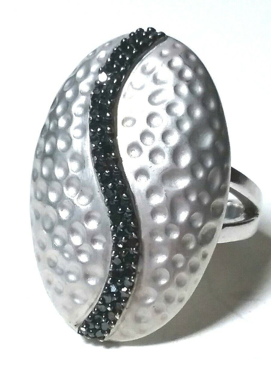 Primary image for ESTATE JEWELRY BLACK GENUINE DIAMONDS STERLING SILVER TEXTURED LARGE RING SIGNED