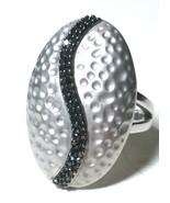 ESTATE JEWELRY BLACK GENUINE DIAMONDS STERLING SILVER TEXTURED LARGE RIN... - $150.00