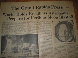 Vintage Grand Rapids Press MI November July 21 1969 Astronauts Prepare  - $12.99