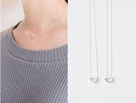 925 sterling silver Geometric Line Necklace / cut out pentagon, triangle... - $23.00