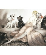 Semi-nude lady with howling dogs in bed Louis ICart Art Deco 8 x 10 phot... - $7.50