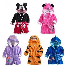 Baby Hooded Sleepwear Clothing Kids Cartoons Designs Polar Fleece Colorful Robes - $19.87