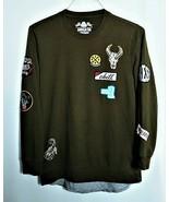 American Rag Multi Patched Sweatshirt Olive Green Mens Medium Layered Lo... - $26.24