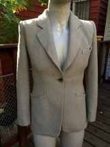 ARMANI COLLEZIONI Beige Gray Tweed Wool Cotton Blend One Button Blazer S... - $25.73