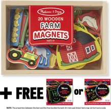 Farm Wooden 20 Magnets-in-a-Box Gift Set + FREE Melissa & Doug Scratch Art Mi... - $19.55