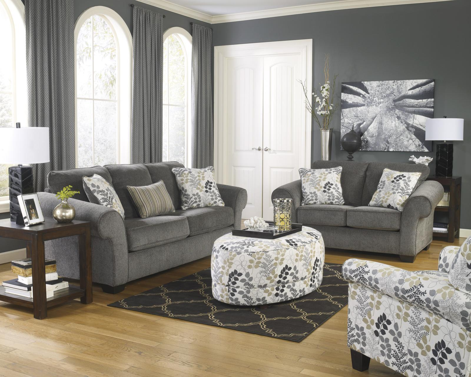 Ashley Makonnen Living Room Set 3pcs in Charcoal Upholstery Fabric Contemporary