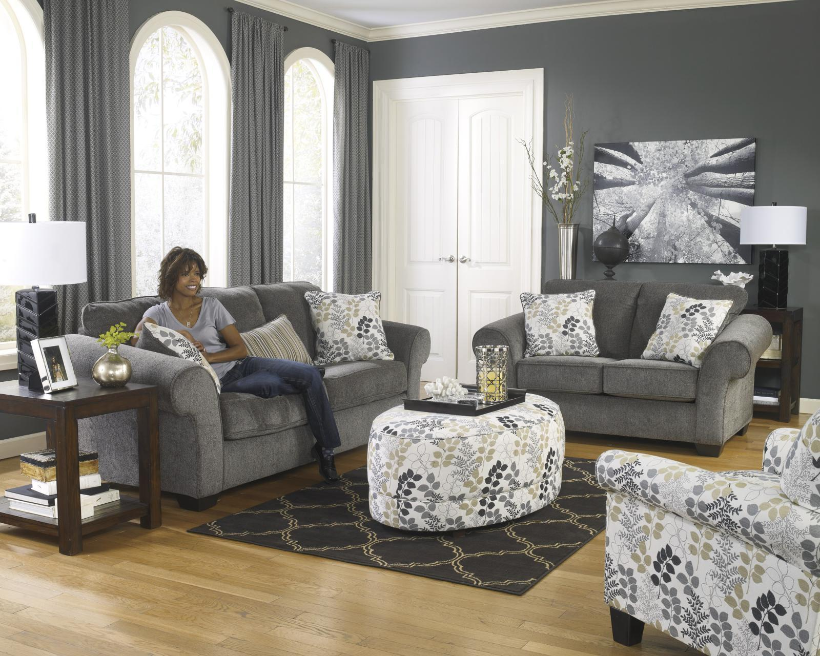 Ashley Makonnen Living Room Set 4pcs in Charcoal Upholstery Fabric Contemporary