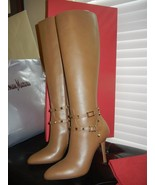 New Valentino Rockstud Tall almond toe Boots Be... - $924.99