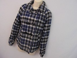 Aeropostale Black White Plaid Wool Pea Coat Double Breasted Women's Small - $21.19
