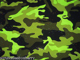 Lime Green Camo Sequins Spandex Hair Scrunchie Scrunchies by Sherry Dancewear - $8.99