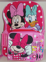 Disney Minnie Mouse Daisy Duck Backpack Lunch Tote Box Pink Back to School New - $59.95