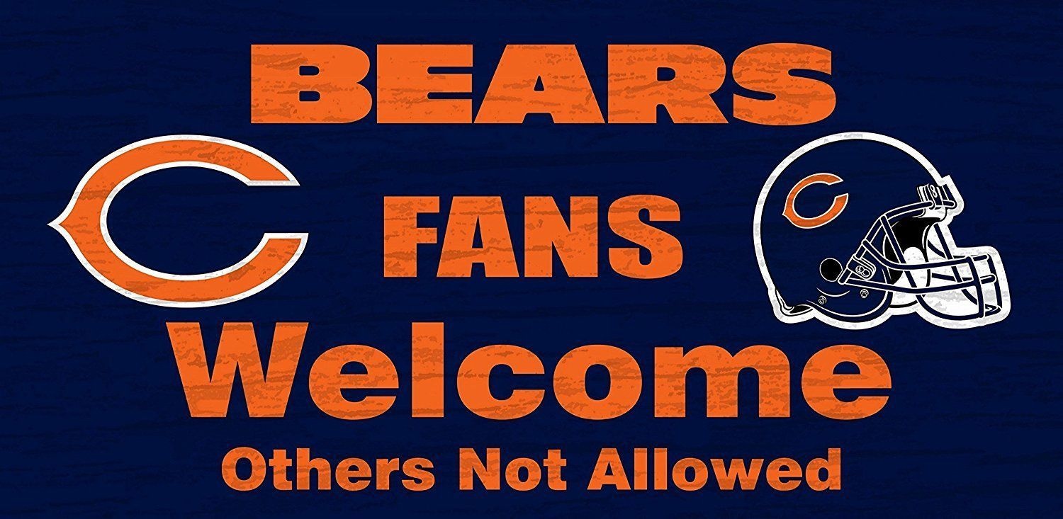 "CHICAGO BEARS FANS WELCOME WOOD SIGN with ROPE 12"" X 6"" NFL FOOTBALL MAN CAVE!"