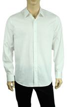 New Tasso Elba Long Sleeve Cotton White Jackuard Button Front Shirt L - $19.99
