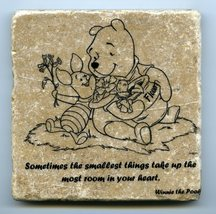 """Winnie the Pooh Quote Wall Art Tumbled Tile Coaster Natural Stone Piglet 4"""" x 4"""" - $11.00"""