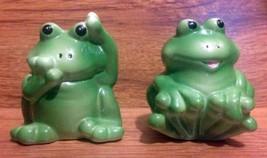 Vintage Playful Baby Frog Salt & Pepper Shakers - 1980's - $10.00