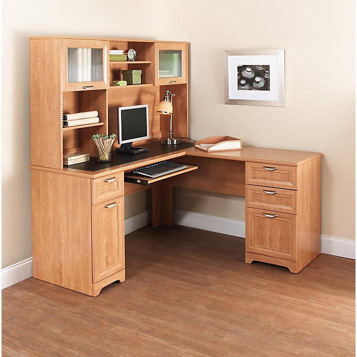 ... Realspace Magellan Collection L Desk U0026 Hutch, Honey Maple  (101100+101110)