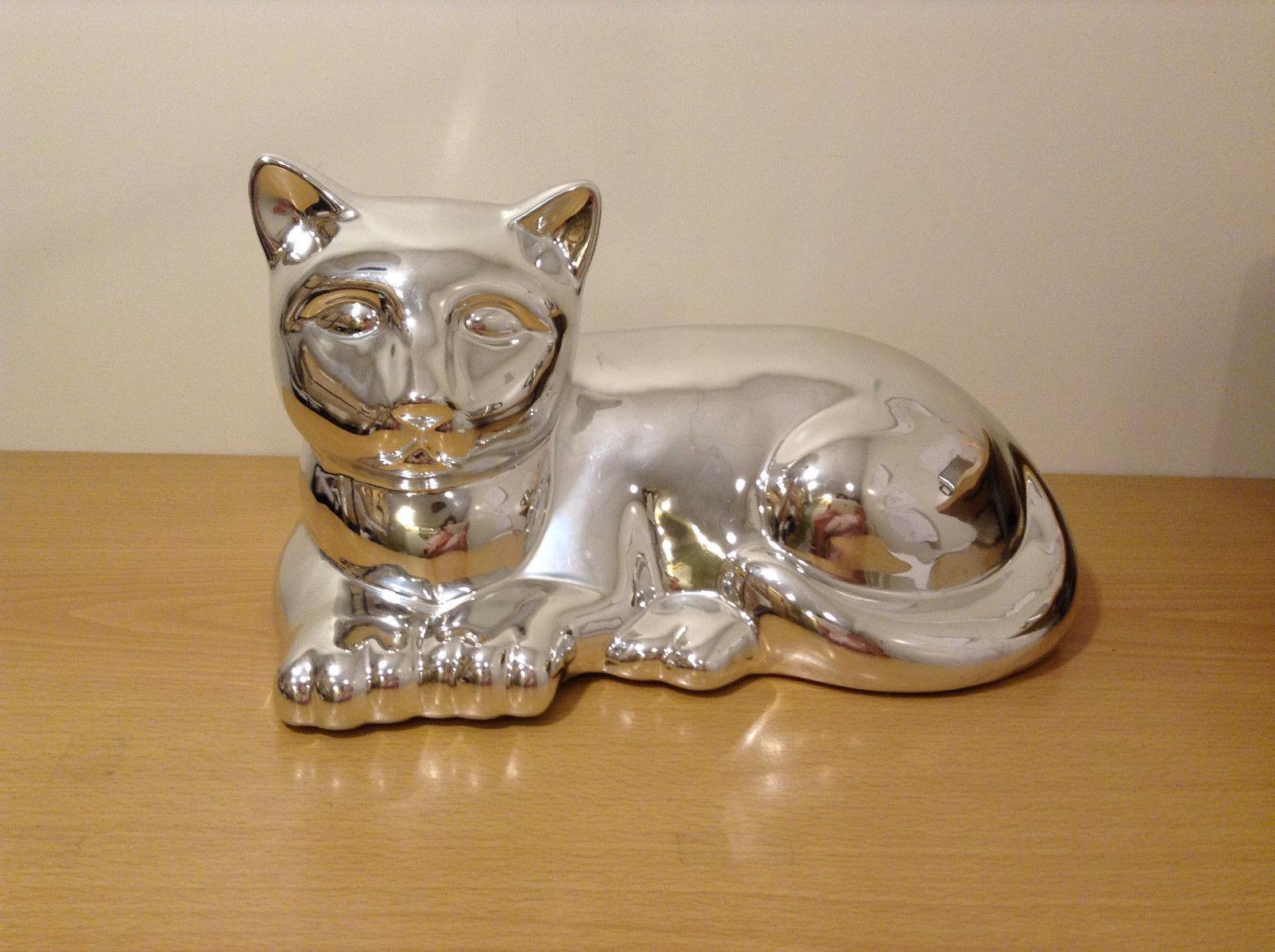 Reclining Metallic Silver Cat Figure Figurine Mid Century Midcentury Home Decor