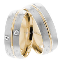Wedding Bands, 7mm Wide, 18K Solid Gold His & Hers, Size 4-13, Made in USA - $1,136.37