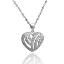 """Sterling Silver Heart Pendant, White CZ Heart Pendant,17 3/4"""" Chain,Soli... - $28.01"""
