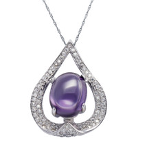 """Sterling Silver, Clear CZ with Amethyst Pendant Necklace, 17.5"""" Extensio... - $53.25"""