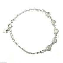 Sterling Silver Jewelry, White CZ Micro Pave Bracelet, Heart Shape, 7.5 ... - $32.59