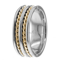 10K GOLD 8MM HAND BRAIDED WEDDING BAND TWO TONE MENS AND WOMENS BRAIDED ... - $466.57