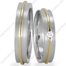 10 K Gold Two Tone Matching Wedding Bands His And Hers Wedding Ring Set Diamond - $722.79