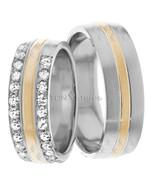 Matching Wedding Band Set Groom & Bride 18K Gold Matching Diamond Weddin... - $1,743.79