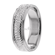 Wedding Bands, 6.50mm, 10K Solid Gold Designer Ring, Size 4-13 Made in USA - $298.27