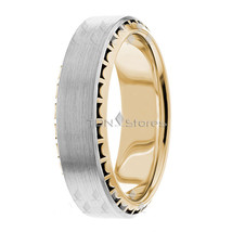 Wedding Bands, 7mm, 10K Solid Gold Designer Ring, Size 4-13 Made in USA - $322.58