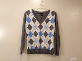 New York & Company Women's Size M Sweater Argyle Diamond Gray Blue V Neck NY&CO
