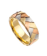 SOLID 14K GOLD HAND BRAIDED WEDDING BAND RINGS TRI COLOR MULTI TONED 4.50MM - $378.68
