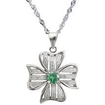 Sterling Silver Pendant, Clear & Green CZ Clover Pendant Necklace, Solid... - $37.36