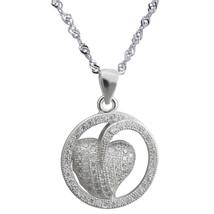 "Sterling Silver Pendant CZ Heart Pendant, 17.5"" Chain, 925 Silver Heart Pendant - $37.36"