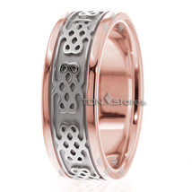 10K Gold 8mm Celtic Wedding Band, 10K Solid Gold, Size 4-13 Made in USA - $530.64