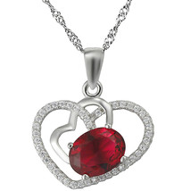 "Sterling Silver CZ & Red Rhinestone Micro Pave Heart Pendant, 17.5"" Chai... - $26.14"