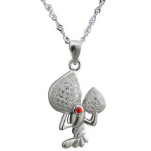 "Sterling Silver, White & Red CZ Pendant Necklace, 17.5"" Extension Chain - $35.49"