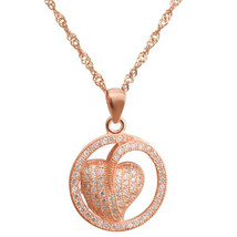 "Rose Gold Plated Sterling Silver Pendant CZ Heart Pendant, 17.5"" Chain, 925 - $37.36"