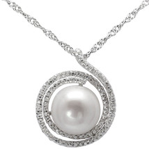 Sterling Silver Pendant CZ, Pearl Pendant Necklace,17.5 Extension Chain,... - $50.45