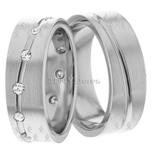 Matching Wedding Ring Set Groom & Bride 18K Gold Diamond Matching Weddin... - $1,297.40