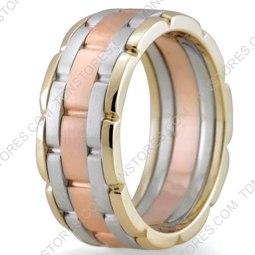14K Gold, 9mm Handmade Wedding Band, Ring Size 4-13, Made in the USA