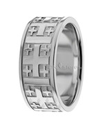 Men's 9mm Cross Wedding Band 10k Solid Yellow Gold Ring Religious Christ... - $595.60