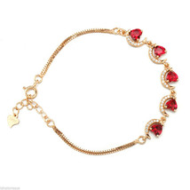 Rose Gold Plated, Sterling Silver, CZ Bracelet, Heart Shape Rhinestone, ... - $32.59